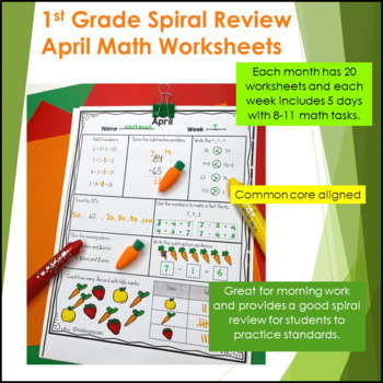 Daily Math Review First Grade - Spiral Math Review - April