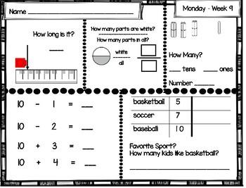 Daily Math Review: First Grade (Weeks 9 thru 12)