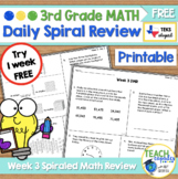 Daily 3rd Grade STAAR Math Review Freebie - New Math TEKS