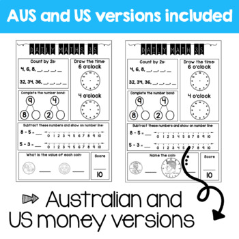 Daily Math Review – Grade 1 FREEBIE (Aus & US Version)