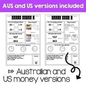 Daily Math Review – Grade 3 WHOLE YEAR GROWING BUNDLE! (Aus & US Version)