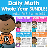 Daily Math Review 3rd Grade WHOLE YEAR BUNDLE! (Aus & US Version)