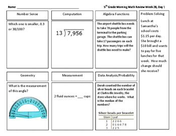 Daily Math Review Grade 5 Quarter 4
