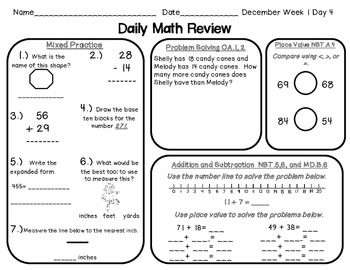 Daily Math Review Pages for December