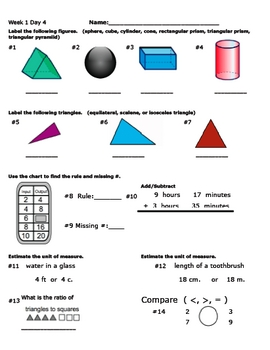 Daily Math Review Part 1 (Weeks 1-12)