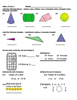 Daily Math Review Part 2 (Weeks 13-24)