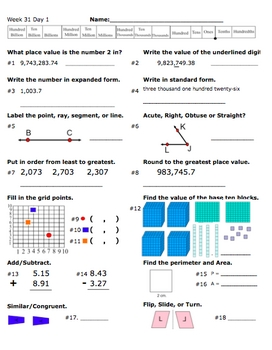 Daily Math Review Part 3 (Weeks 25-36)