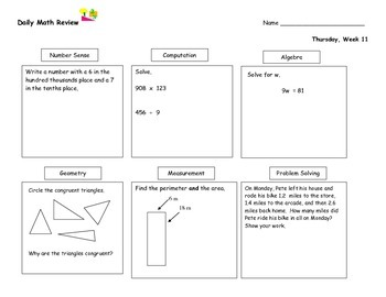 Daily Math Review Part Two (Nine Weeks), Daily Warm Up, Math Morning Work