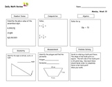 Daily Math Review Part Two (Nine Weeks), Daily Warm Up, Ma