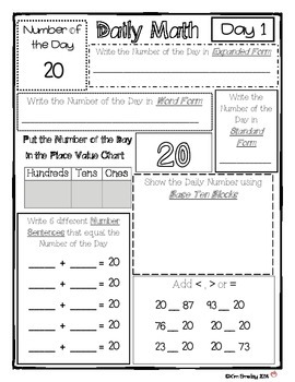 Daily Math Review (Place Value and Number Forms without color)