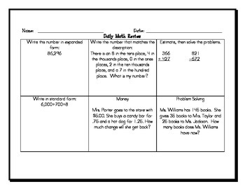 2 Daily Math Review Templates with an example