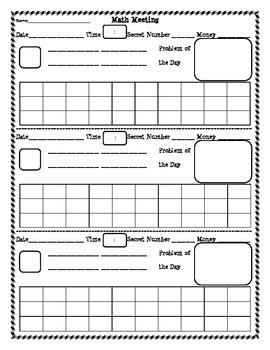 Daily Math Review Template FREEBIE