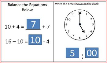 Daily Math Review: Time and Balancing Equations