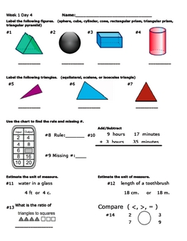 Daily Math Review Week 1