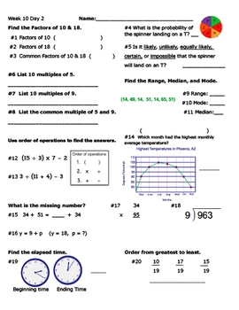 Daily Math Review Week 10
