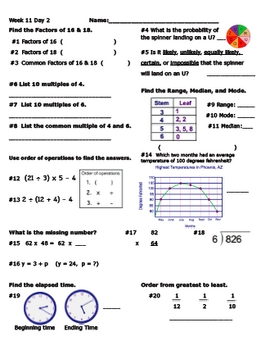 Daily Math Review Week 11