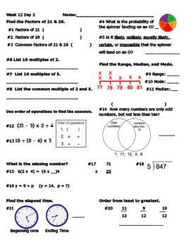 Daily Math Review Week 12