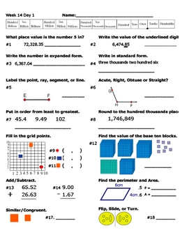 Daily Math Review Week 14