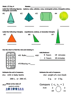 Daily Math Review Week 15