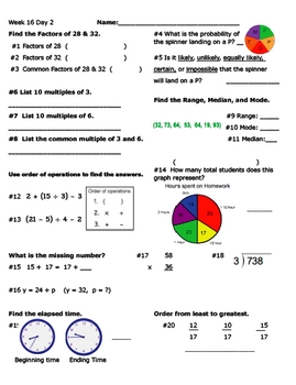 Daily Math Review Week 16