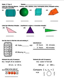 Daily Math Review Week 17