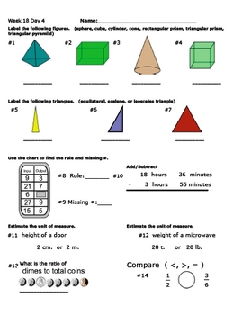 Daily Math Review Week 18