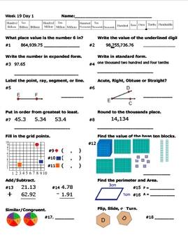 Daily Math Review Week 19
