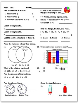 Daily Math Review Week 2