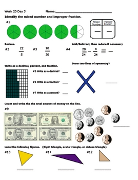 Daily Math Review Week 20