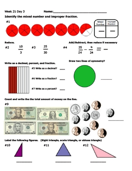 Daily Math Review Week 21
