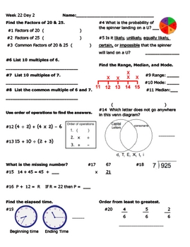 Daily Math Review Week 22