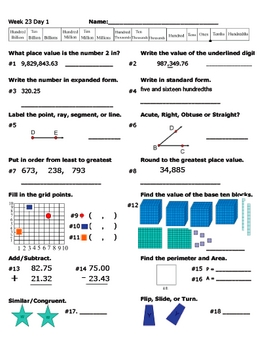 Daily Math Review Week 23