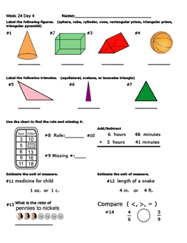 Daily Math Review Week 24