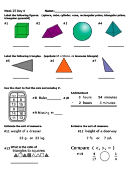 Daily Math Review Week 25