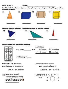 Daily Math Review Week 26