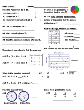 Daily Math Review Week 27