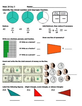 Daily Math Review Week 28