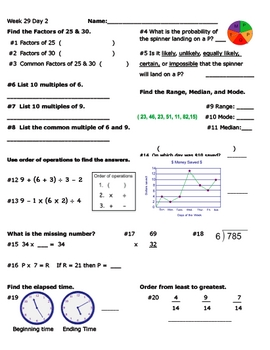 Daily Math Review Week 29