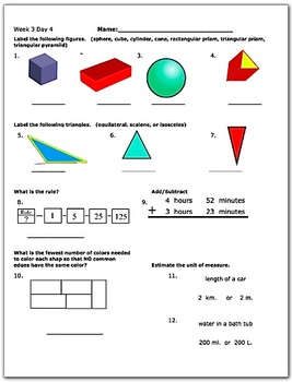 Daily Math Review Week 3