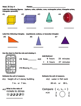 Daily Math Review Week 30