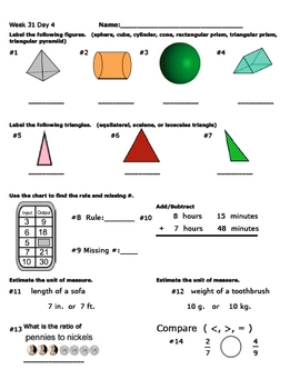 Daily Math Review Week 31