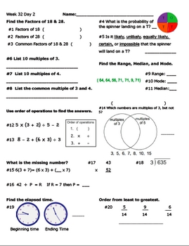 Daily Math Review Week 32