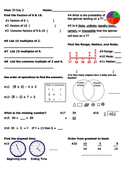 Daily Math Review Week 33