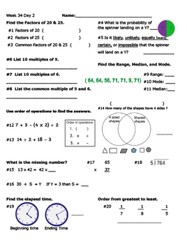 Daily Math Review Week 34