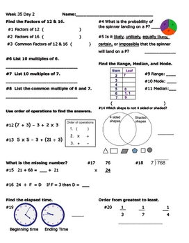 Daily Math Review Week 35