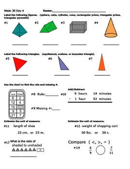 Daily Math Review Week 36