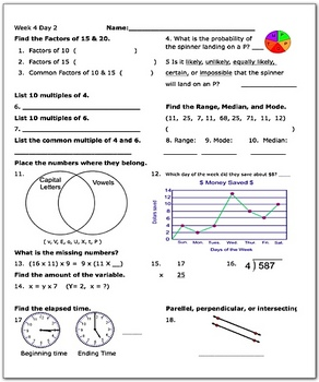 Daily Math Review Week 4