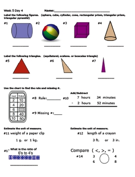 Daily Math Review Week 5