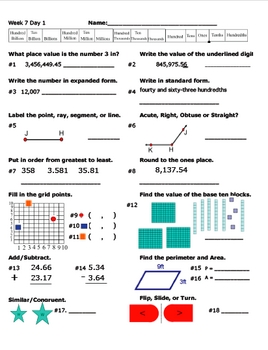 Daily Math Review Week 7