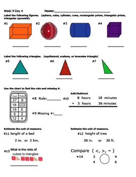 Daily Math Review Week 9